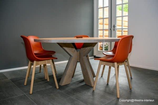 Figaro massief eiken houten design eetkamer tafel rond