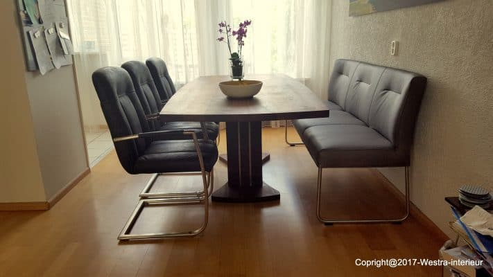 Artovaal massief noten houten design eetkamer tafel
