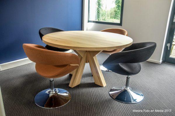 massief ronde eiken houten design eetkamer tafel