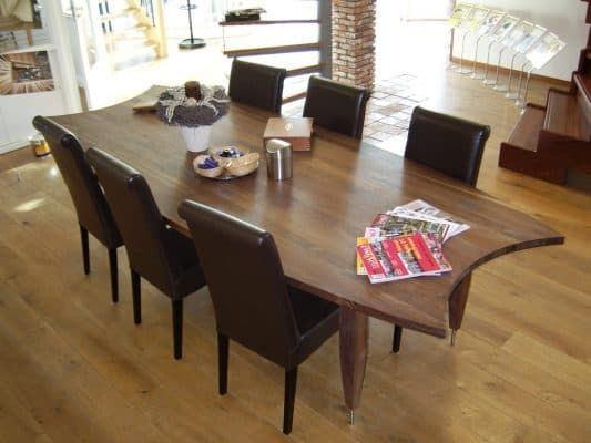First massief noten houten design eetkamer tafel ovaal