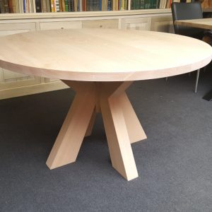 aanbieding outlet massief beuken houten ronde tafel eetkamer keuken