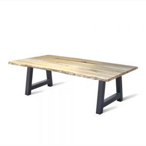 massief rustieke eiken houten boomstam tafel eetkamer keuken industriele