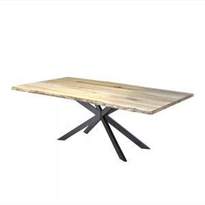 Rechte industriële eetkamer keuken tafel boomstam eiken staal