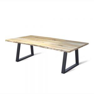 industriele massief eiken houten boomstam eetkamer keuken tafel