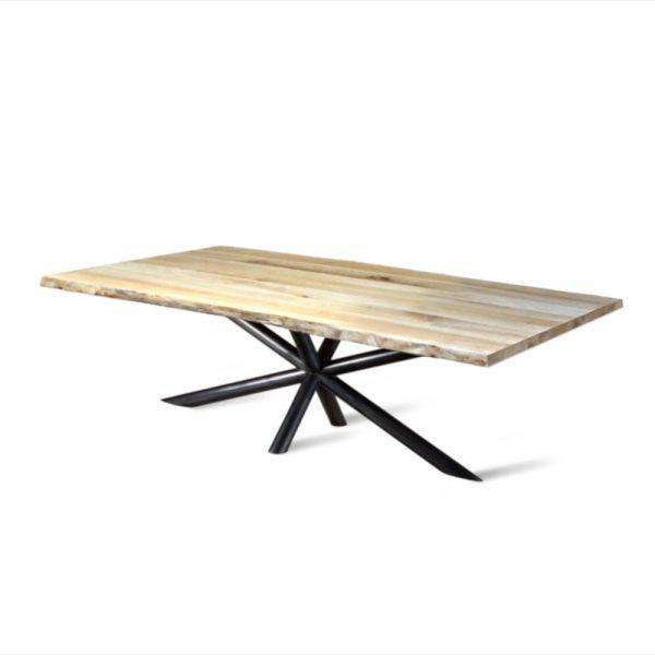 Massief eiken houten boomstam eetkamer tafel eettafel keuken meubelmaker Friesland