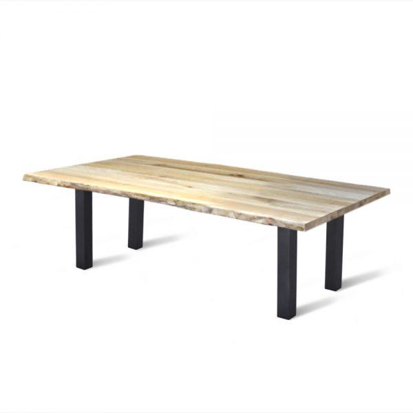 Massief eiken houten boomstam tafel eetkamer keuken staal stalen poten onderstel