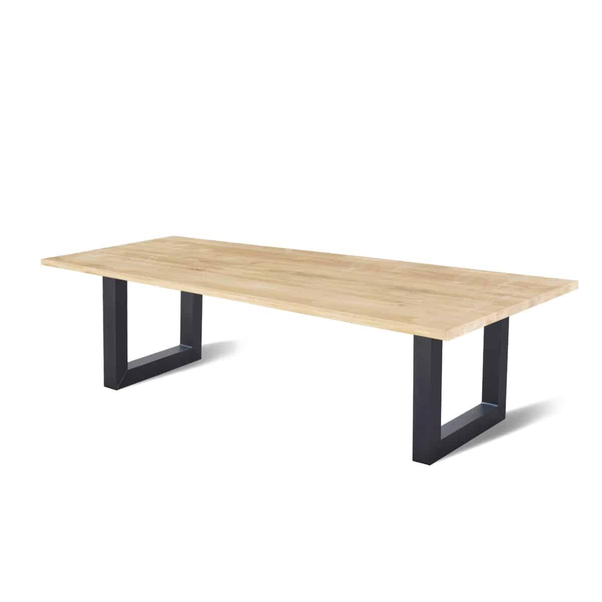 recht industriele eetkamer keuken tafel eiken hout staal