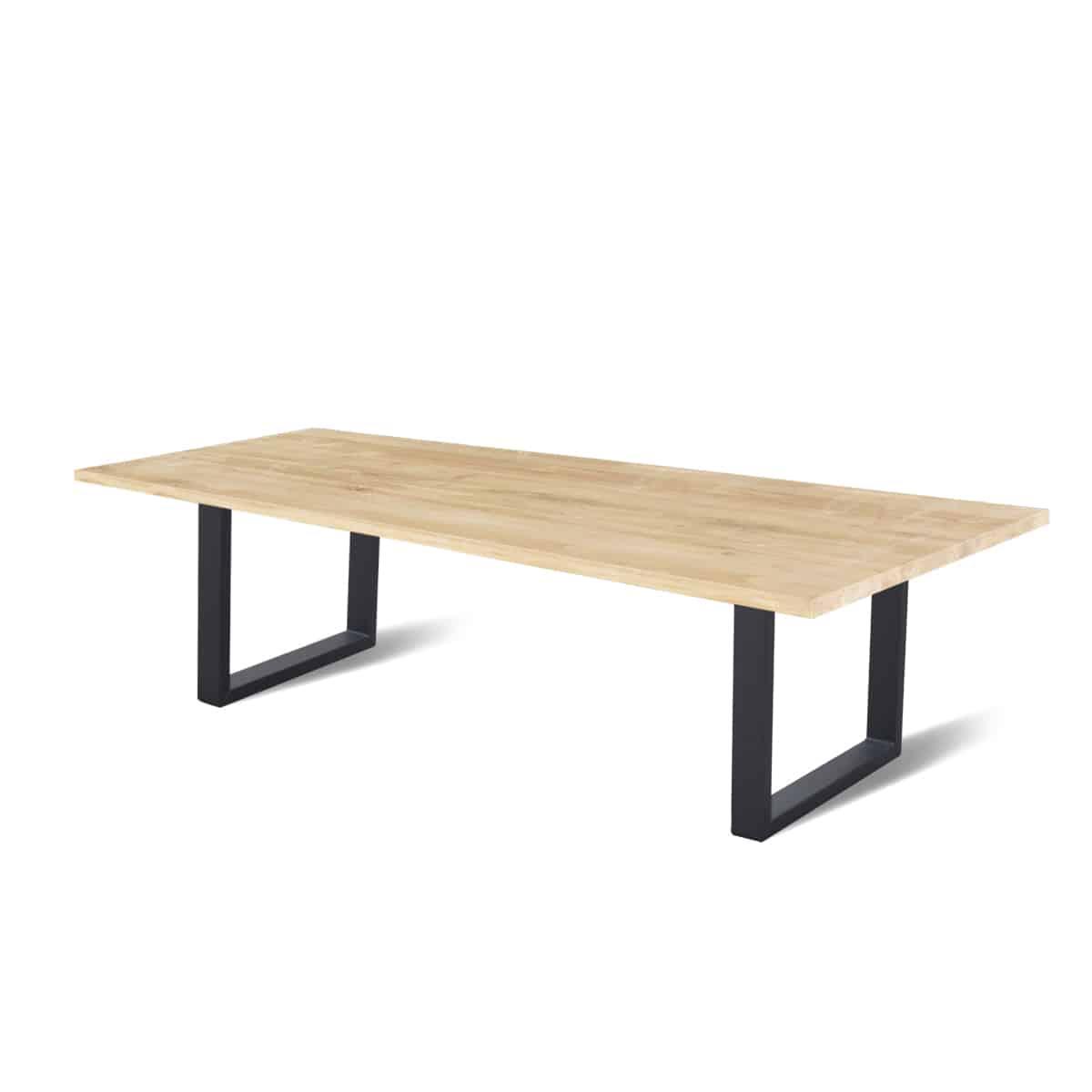 recht industriële eetkamer keuken tafel eikenhouten staal