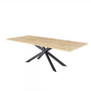 rechte industriële eetkamer keuken tafel eiken hout eikenhout staal