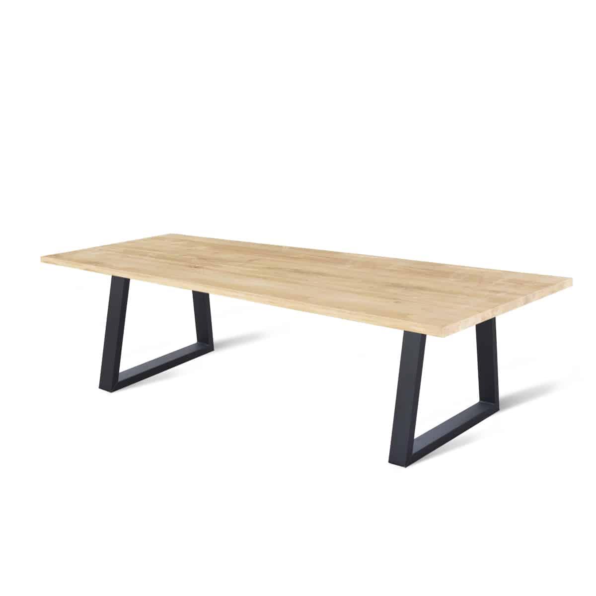 industriele massief eiken houten eetkamer keuken tafel