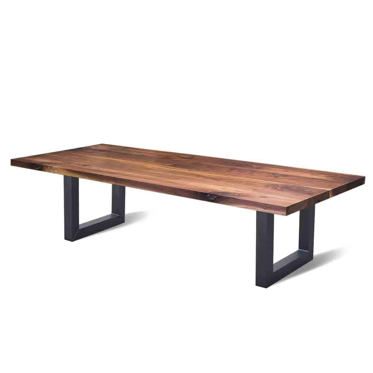 recht industriële eetkamer eettafel walnoten hout staal