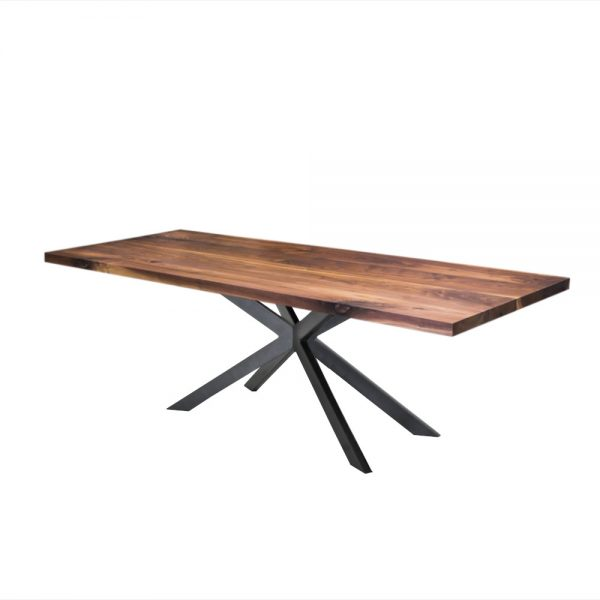 rechte industriele eetkamer keuken tafel notenhout walnoten staal