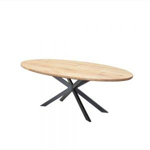 ovale industriële eetkamer keuken tafel eiken houten eikenhouten staal