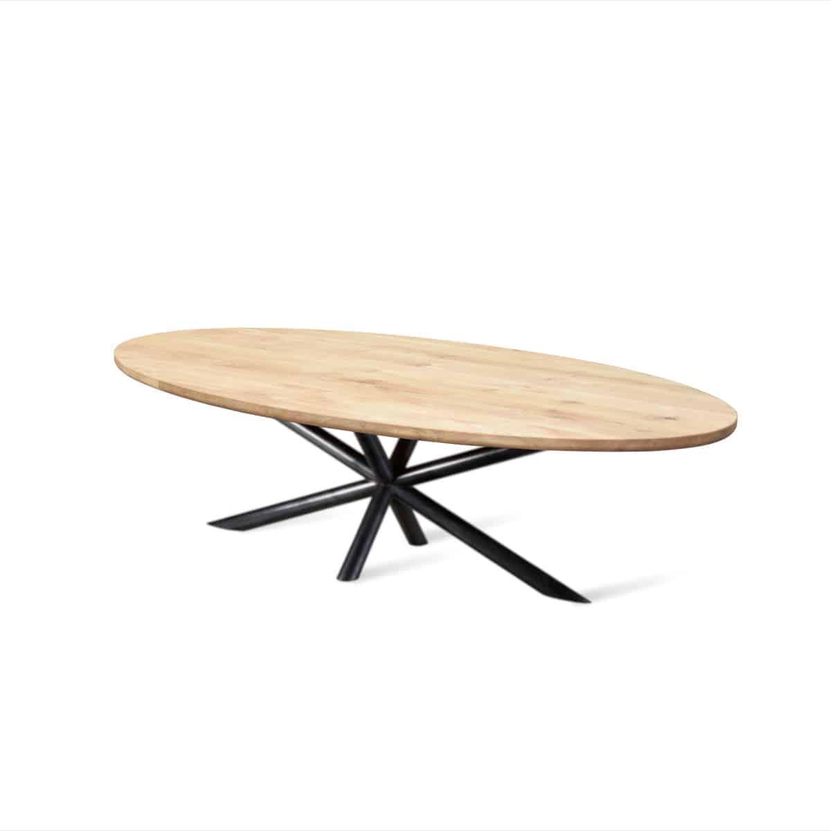 ovale ovaal Massief eiken houten boomstam eetkamer tafel eettafel keuken meubelmaker Friesland
