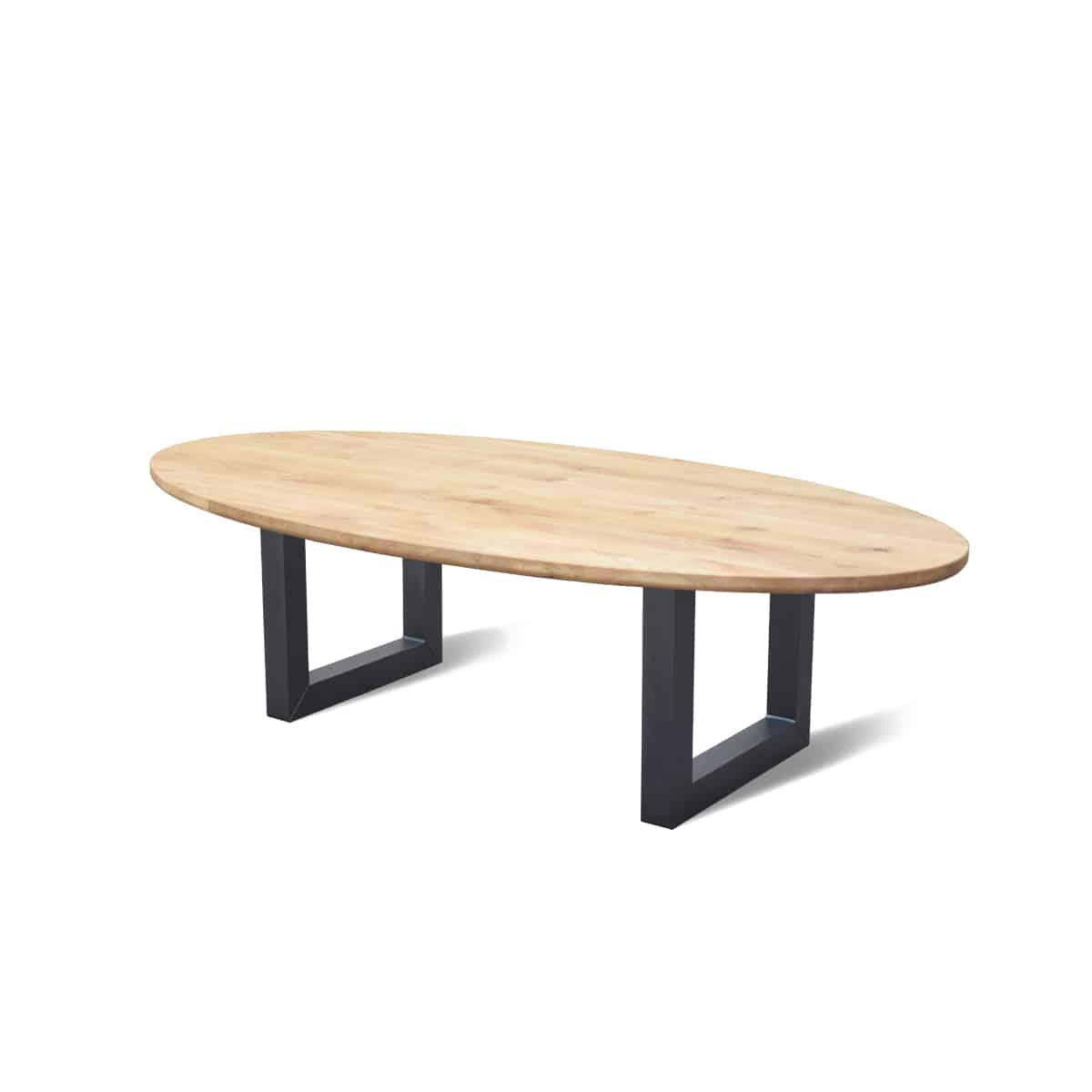 Ovale industriële eetkamer keuken tafel eiken hout staal