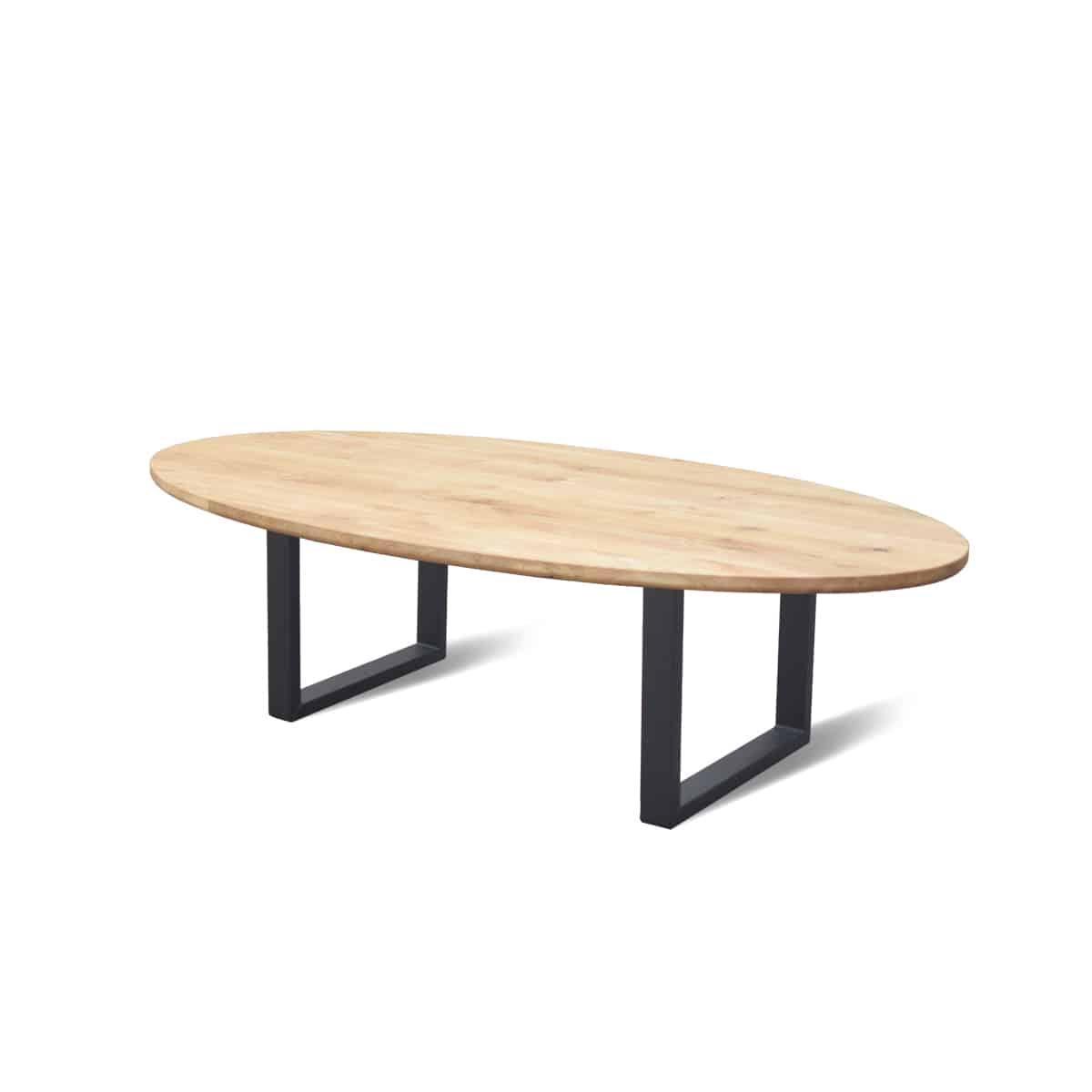 Ovale industriële eetkamer keuken tafel eiken staal