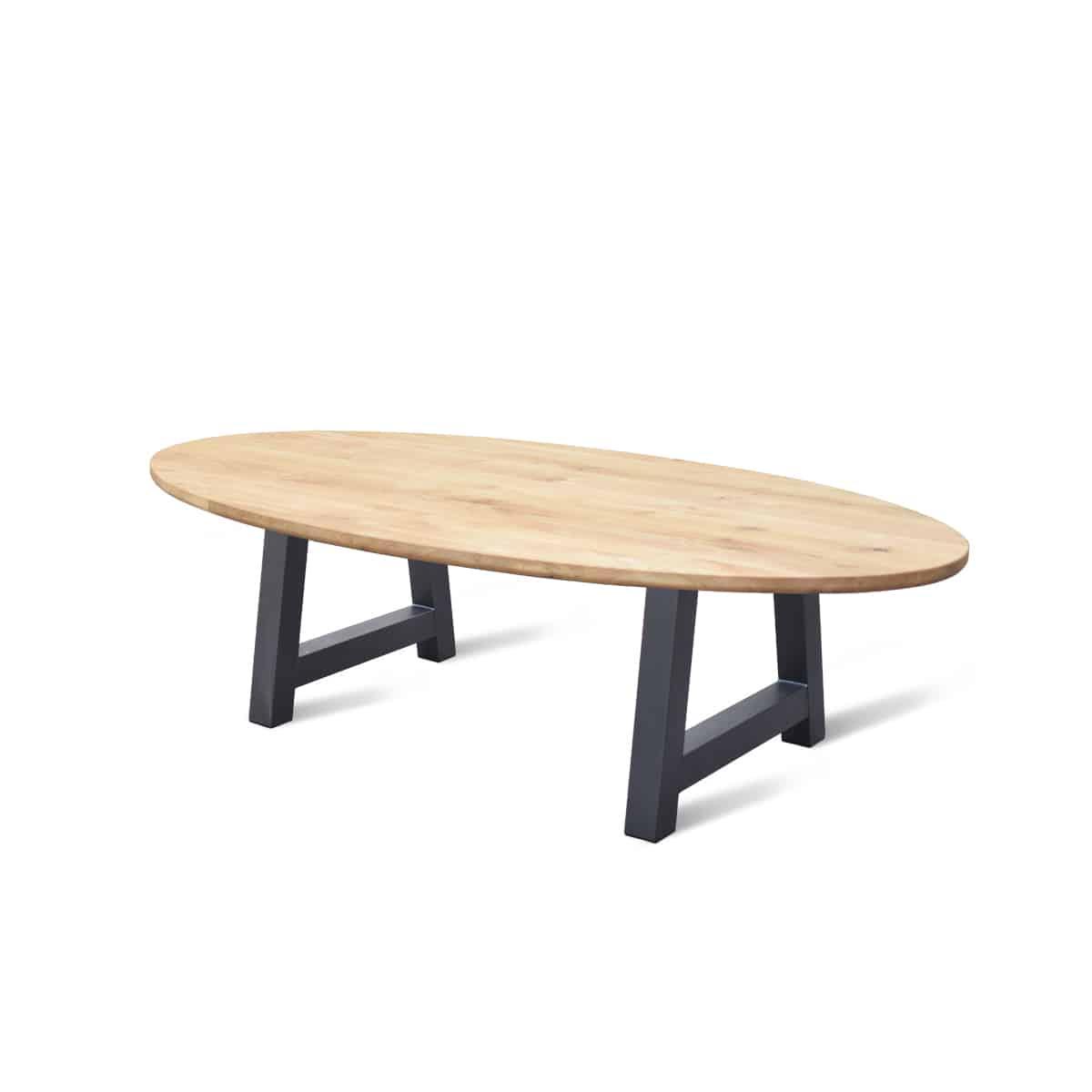 massief ovaal eiken houten industrieel tafel eetkamer keuken meubelmaker friesland