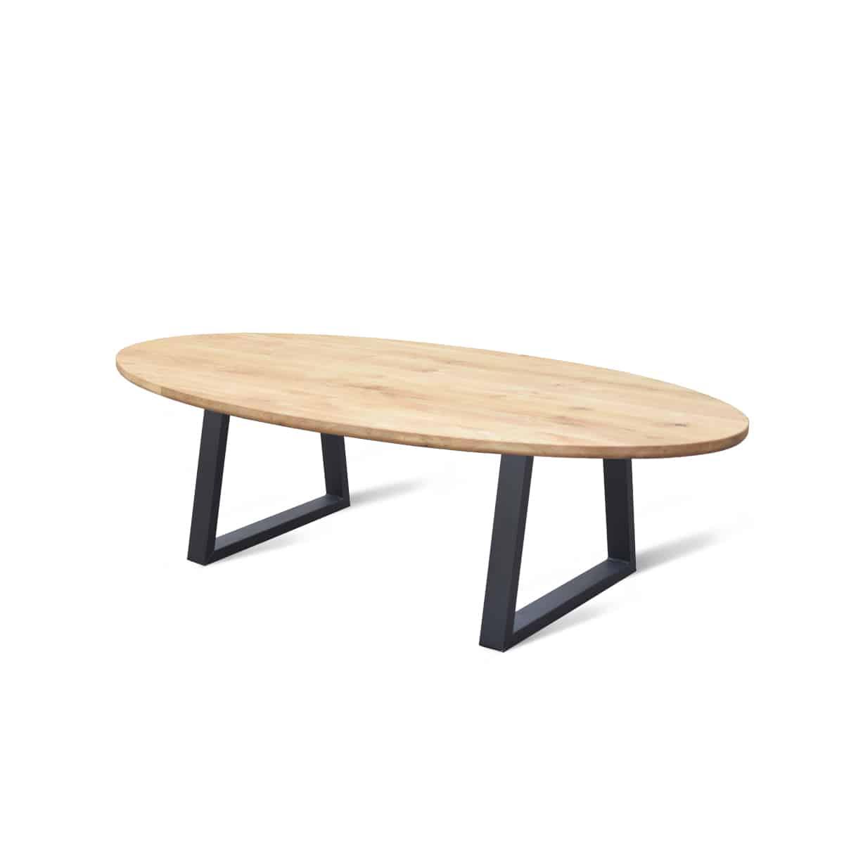 ovaal ovale industriele massief eiken houten eetkamer keuken tafel