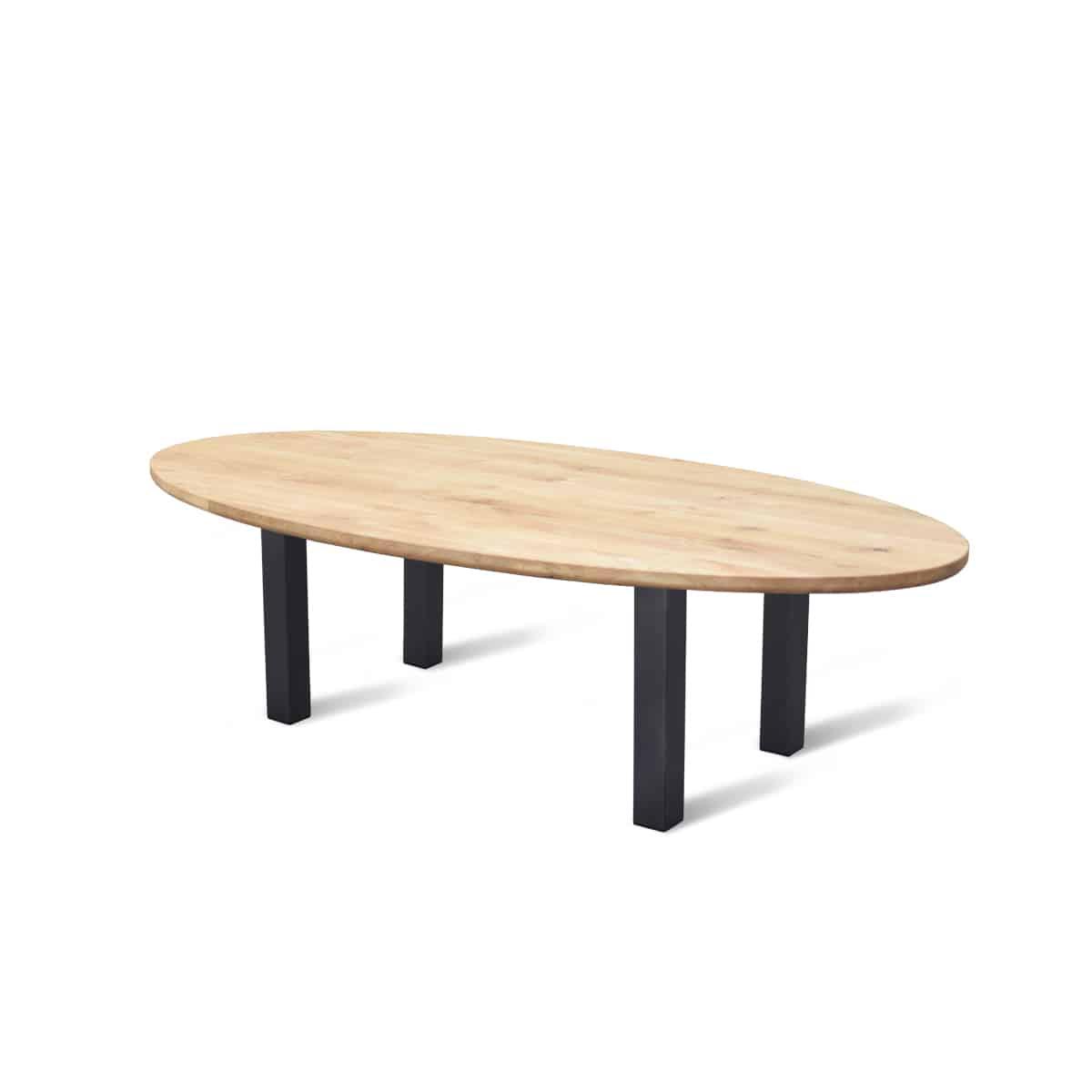 ovale eiken houten eikenhouten tafel eetkamer keuken staal stalen poten onderstel