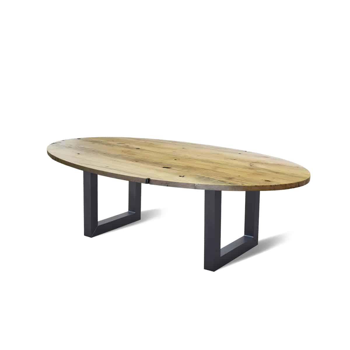 Ovale industriele eetkamer keuken tafel wagonhout staal