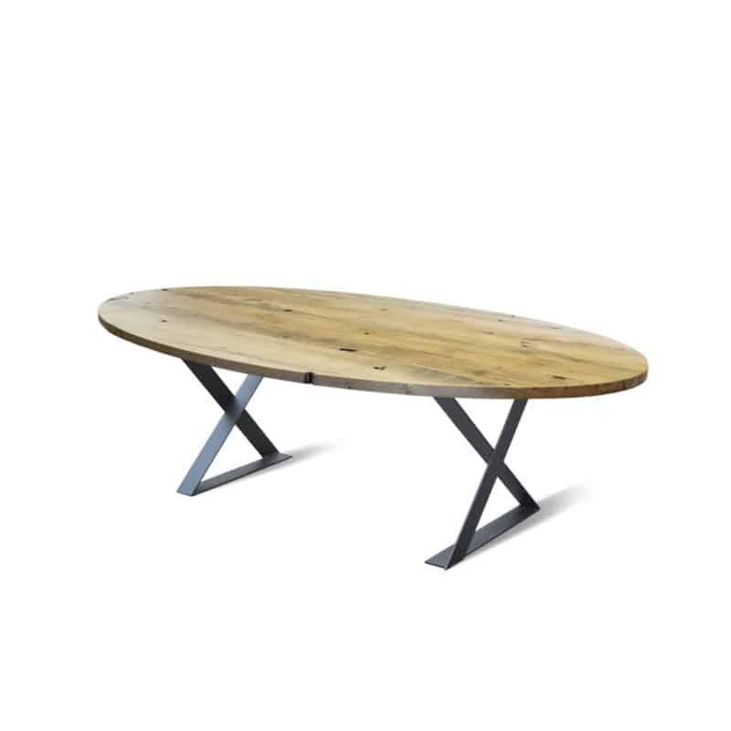 Wagonplanken ovaal tafel doeke artisew design for Design tafel ovaal