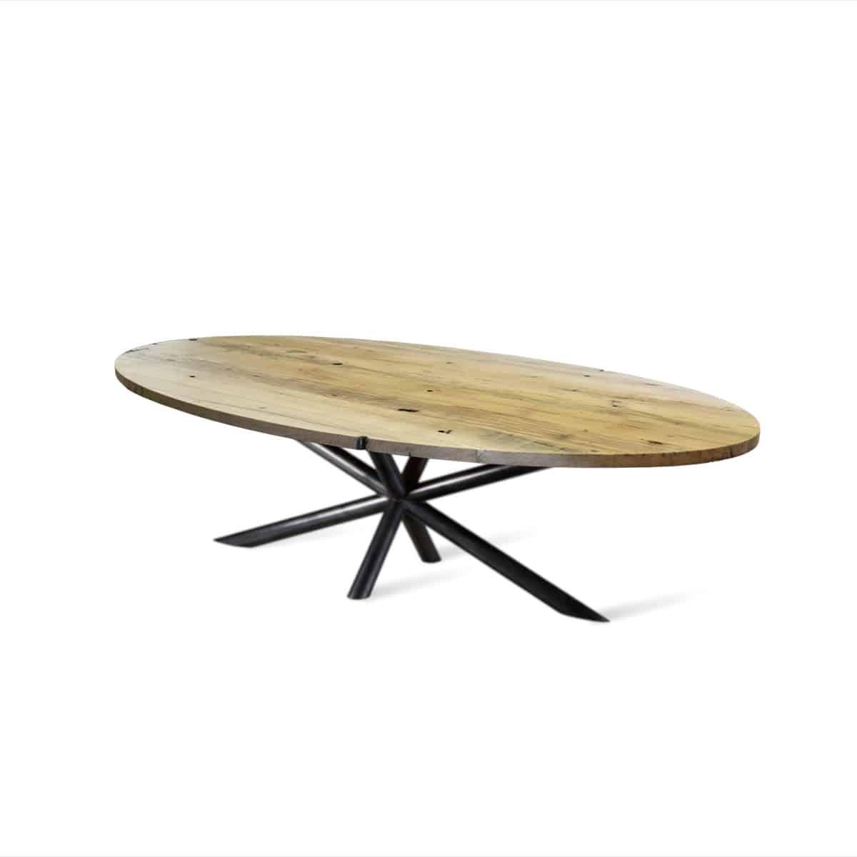 Ovaal ovale massief eiken boomstam eetkamer tafel eettafel keuken meubelmaker Friesland