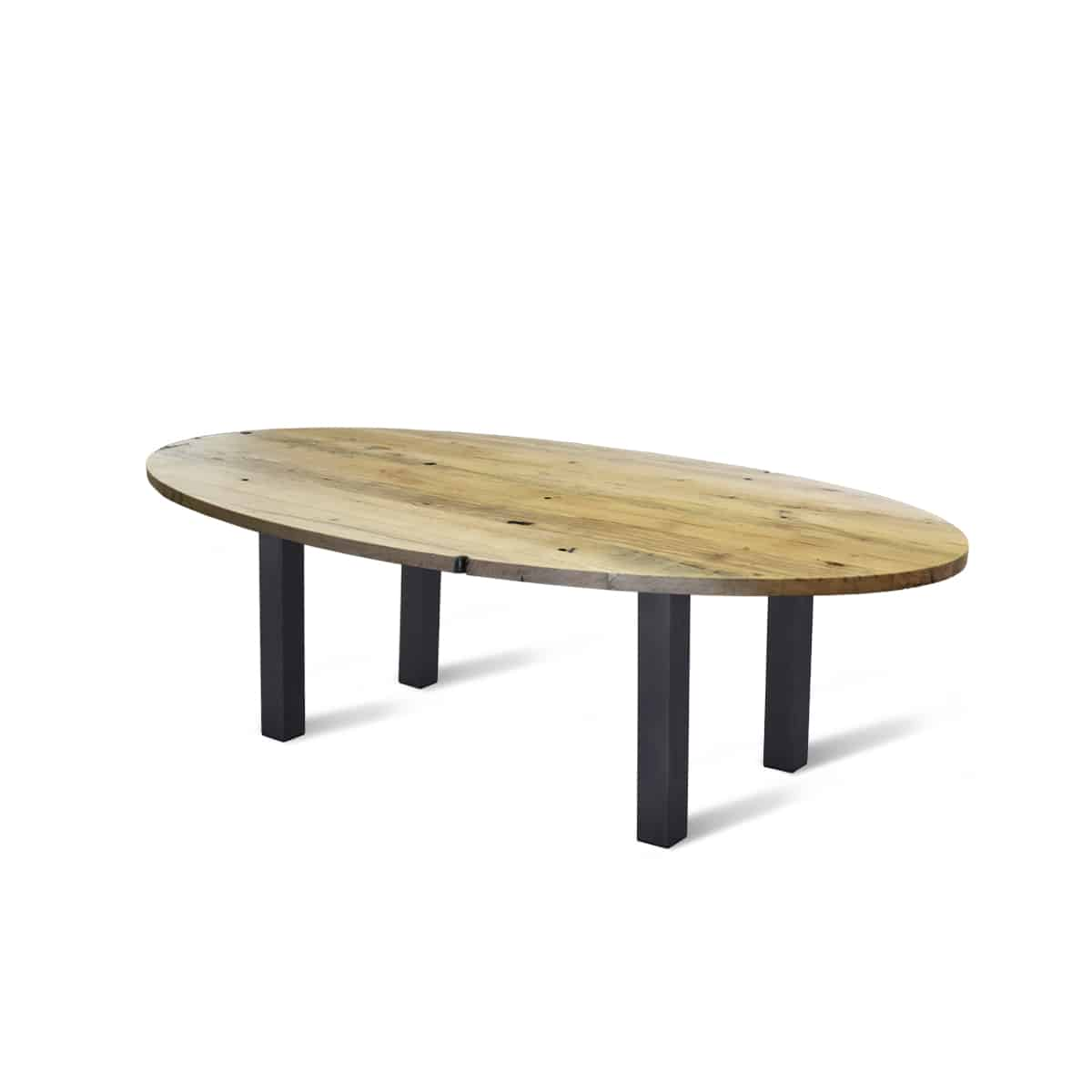 Ovaal ovale massief eiken houten wagonhout rustiek tafel eetkamer keuken staal stalen poten onderstel