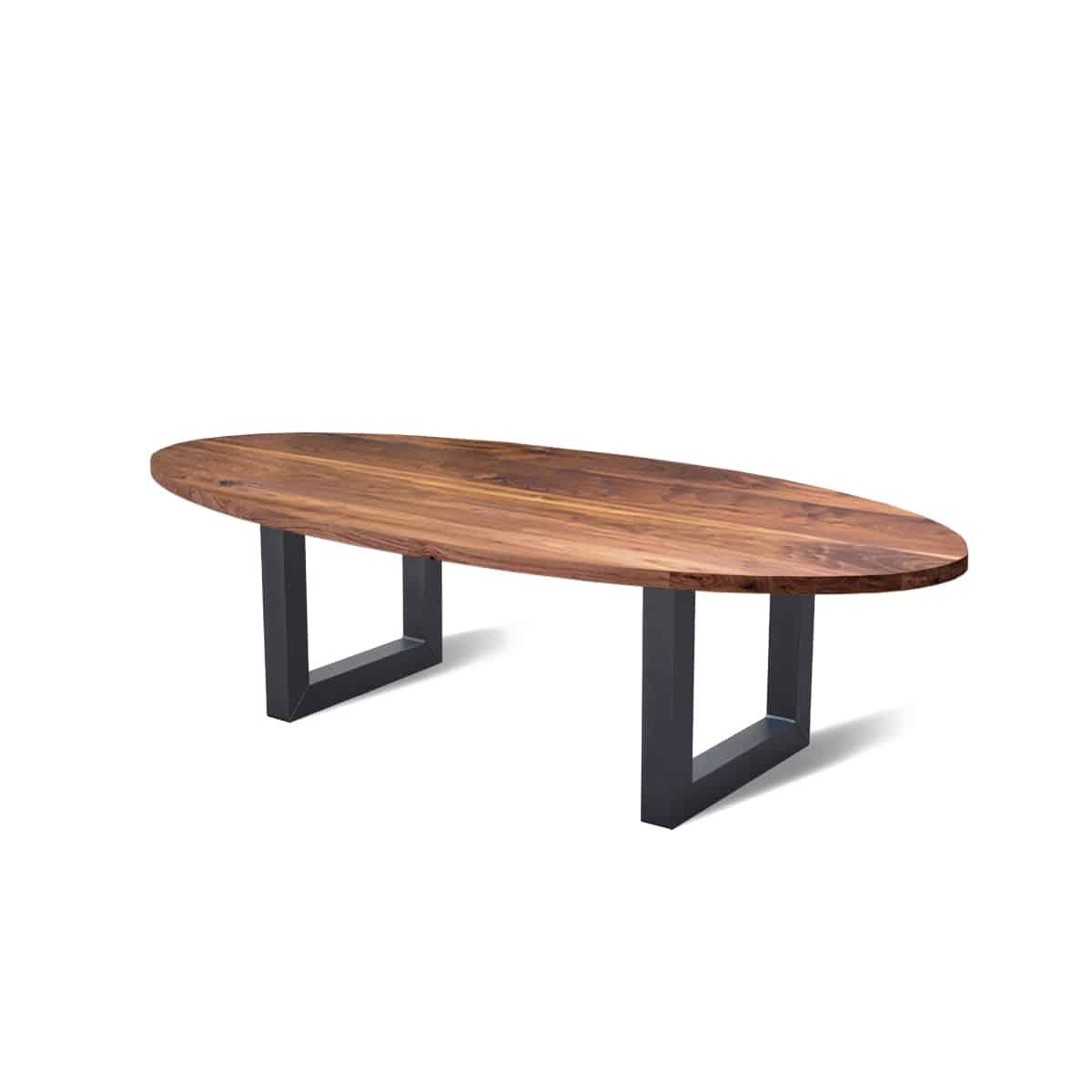 Ovale industriele eetkamer keuken tafel noten hout staal