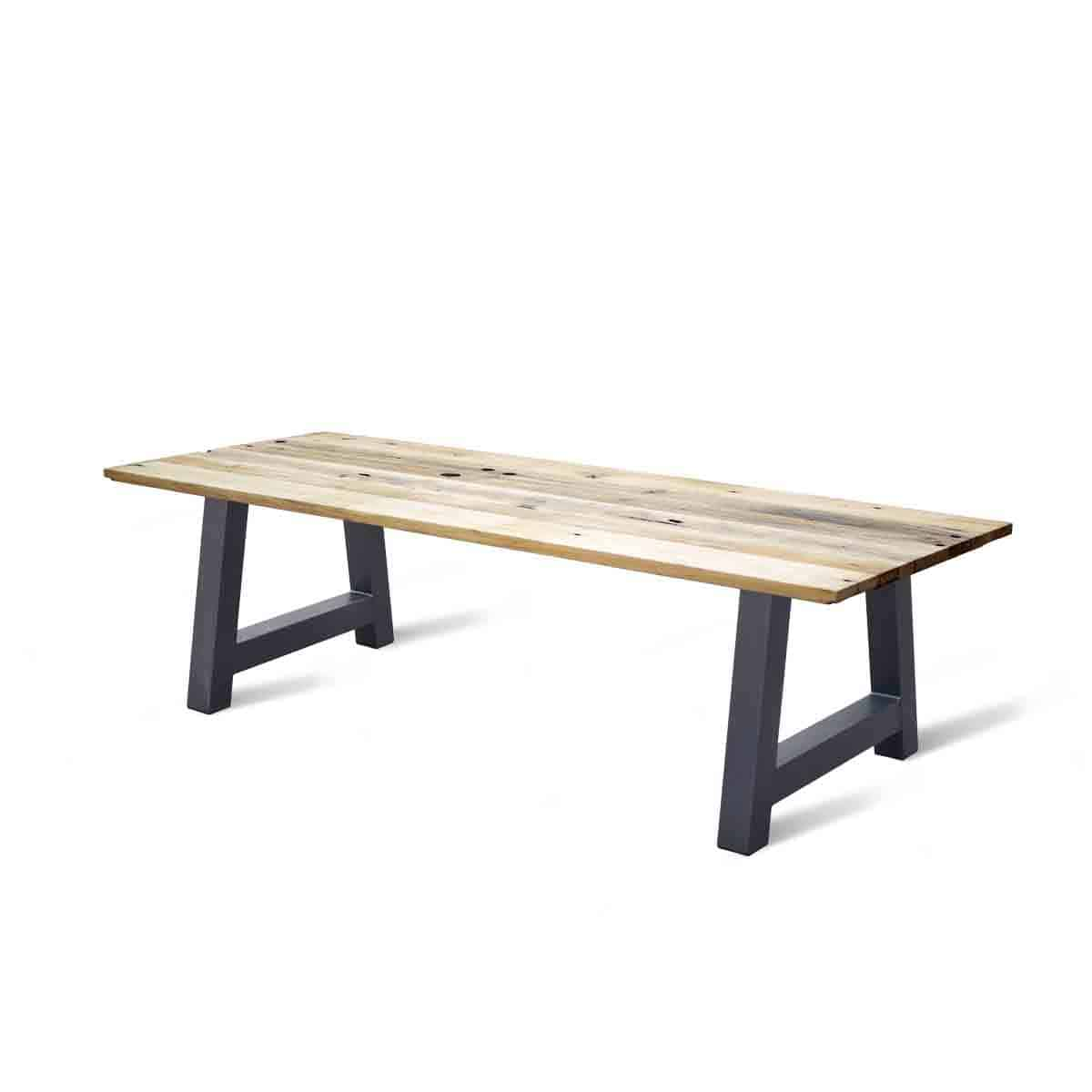 massief rechte eikenhouten wagonhout houten industrieel tafel eetkamer keuken meubelmaker friesland