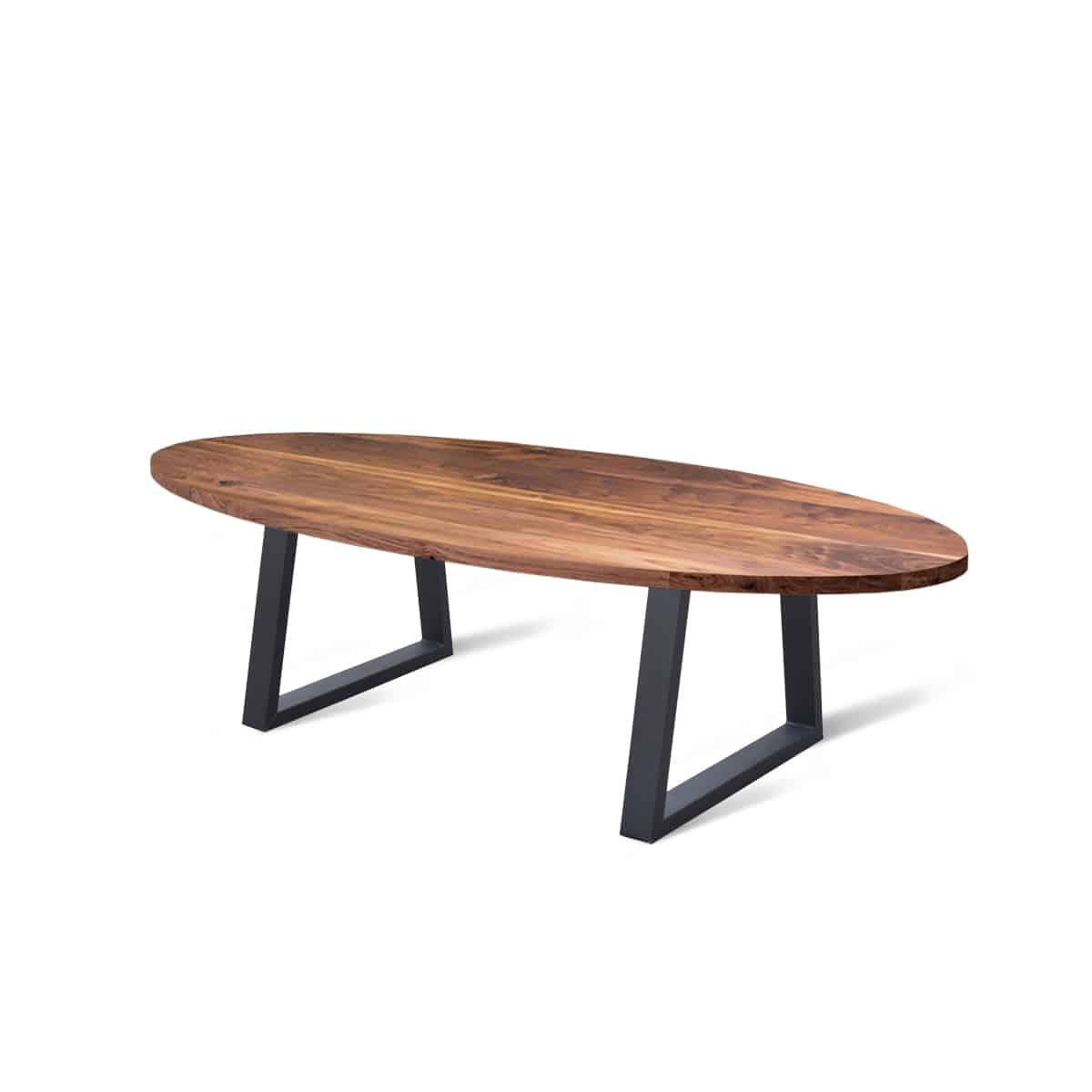 ovale ovaal industriele massief walnoten noten houten eetkamer keuken tafel