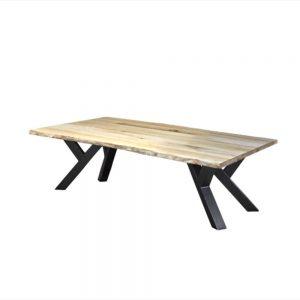 ovaal Massief eiken houten boomstam industriële tafel staal meubelmaker friesland