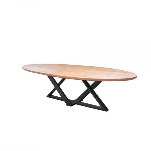 industriele tafel beuken hout beukenhout ovaal ovale meubelmaker ontwerper friesland