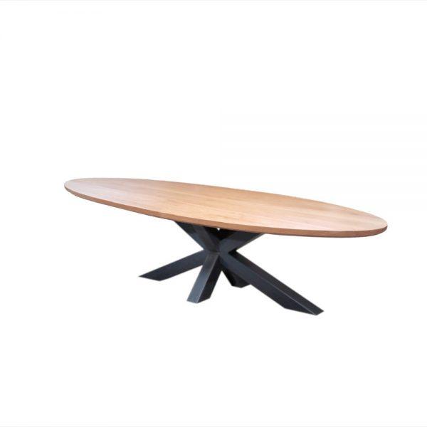 industriele tafel beuken hout massief ovaal ovale metaal staal eetkamer keuken tafel eettafel tafel