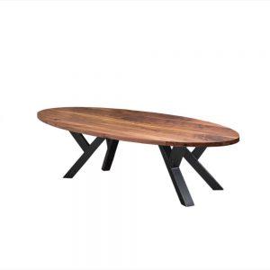 ovaal massief noten houten industriële tafel staal meubelmaker friesland