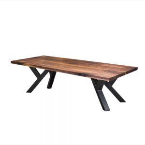 Massief noten houten walnoten industriële tafel staal meubelmaker friesland