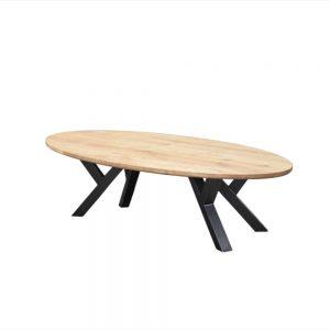 ovaal ovale Massief eiken houten industriële tafel staal meubelmaker friesland